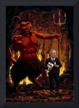 Tony Blair in Hell with Devil and holding Weapons
