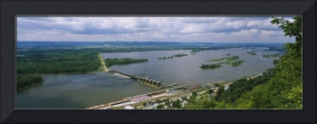 Aerial View Of Lock and Dam # 4 Over Mississippi