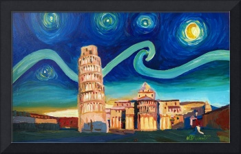 Starry Night in Pisa with Leaning Tower and Van Go