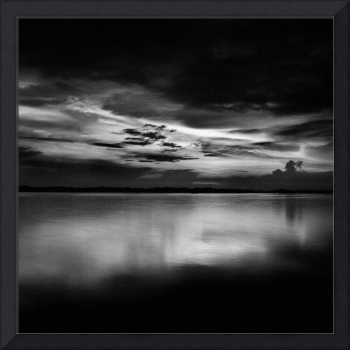 Southern Malaysia Sunset In Black And White