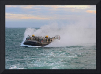 A landing craft air cushion transits the Atlantic