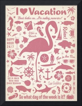 I Love Vacation Retro Poster