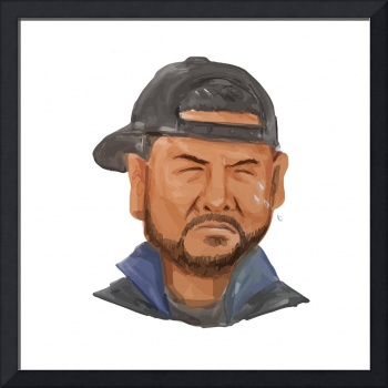 African-American Man Beard Hat Crying Watercolor