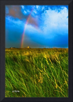 Rainbow Blue Sky Green Grassy Field Panorama Print