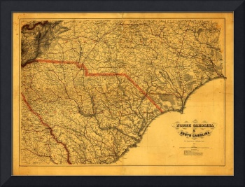 Map of North & South Carolina (1865)