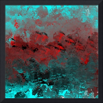 Cool Aqua and Red Abstract