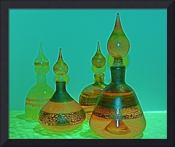 Glass Perfume Bottles - green/yellow