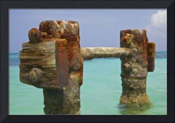 Twin Rusted Dock Piers of the Caribbean