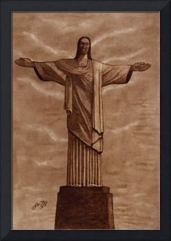 Christ The Redeemer Statue Original Coffee Art