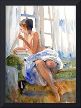 Female Figurative Art | Watercolor | Looking Out