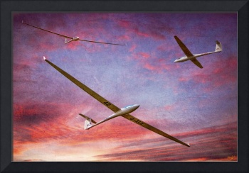 Gliders Over The Devil's Dyke At Sunset