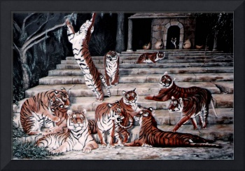 A Gathering of Tigers painting