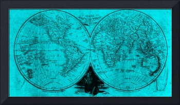 World Map (1811) Light Blue & Black