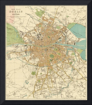 Vintage Map of Dublin Ireland (1914)