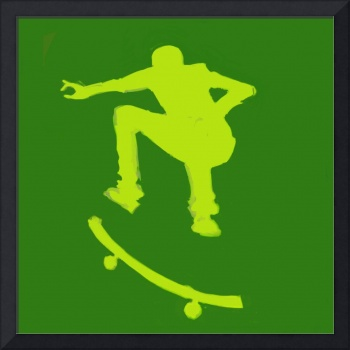 Skateboarder 2 . green gold yellow (c)