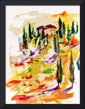 Abstract Tuscan Sunset Hills Landscape by Ginette