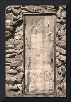 Old Wood Door and Stone Sepia  BW