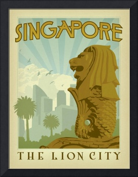 Singapore: The Lion City Retro Travel Poster