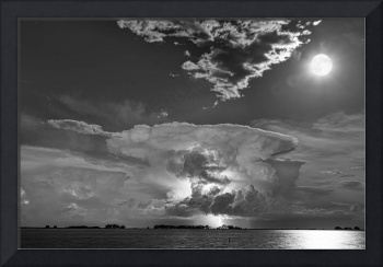 Mushroom Thunderstorm Cell Explosion and Full Moon