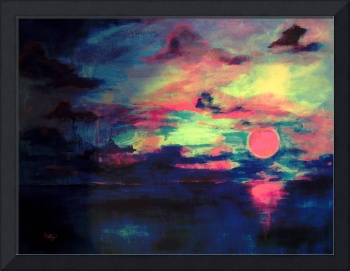 Sunset Over Dark Sea Abstact by Ginette