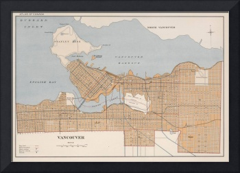Vintage Map of Vancouver Canada (1915)