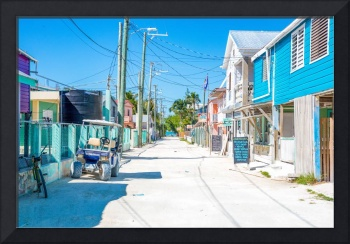 Colorful main street on Caye Caulker in Belize