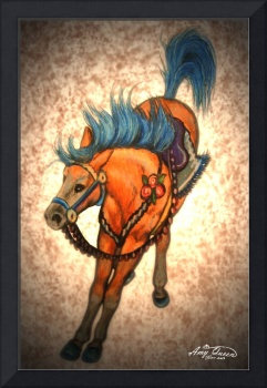 Bucking Red Carousel horse