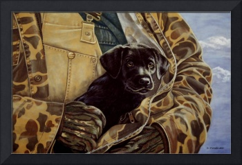Close to My Heart, black labrador on canvas
