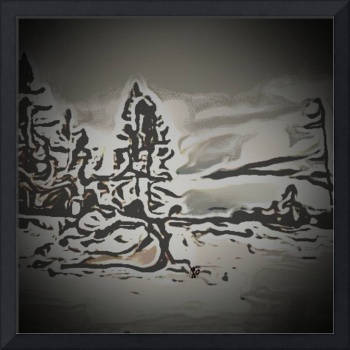 Abstract Landscape Art - Snow Scene