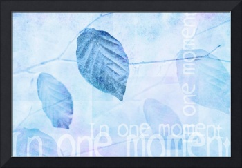 Leaves in Pastel Blue Contemporary Art Print