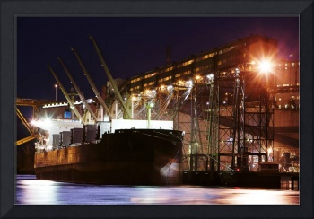 Cargo Ship Loading at night Vancouver photograph