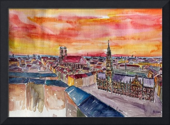 Munich City Center View from St Peter - Watercolor
