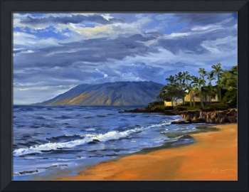 Hawaii Beach Sunset Painting With Ocean Waves At W