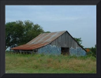Rustic Texas Barn With Blue Bonnets On Side Wall