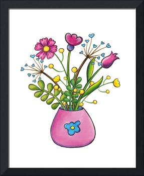 Watercolor flowers in a pink vase