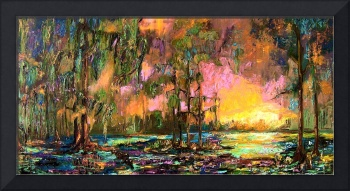 Mystic Okefenokee Panoramic Landscape Oil Painting