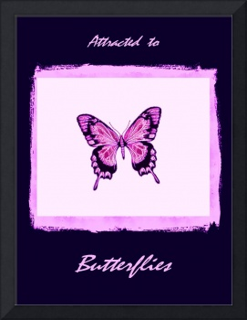 Black Violet Magenta Butterfly with frame, borders
