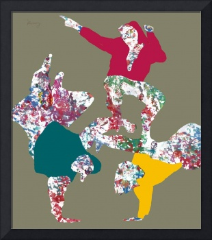 Pop art dancing sketch poster