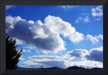 Blue Sky Art Prints White Clouds Tree mountains