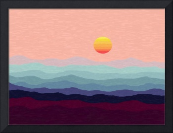 Abstract Decorative Digital Oil Hazy Salmon Sunris