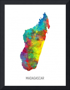 Madagascar Watercolor Map