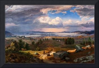 Lund, Bernt (1812-1885) View of Christiania from S