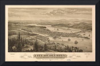 Vintage Pictorial Map of Olympia Washington (1879)