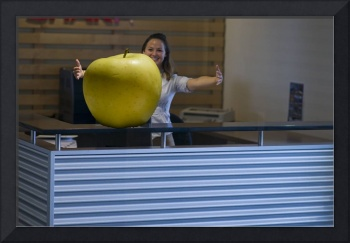 Receptionist Raises Huge Apple!