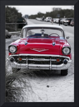 57 Red Chevy at the beach