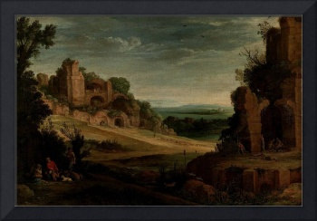 Paul Bril - Landscape with a hunting party and Rom