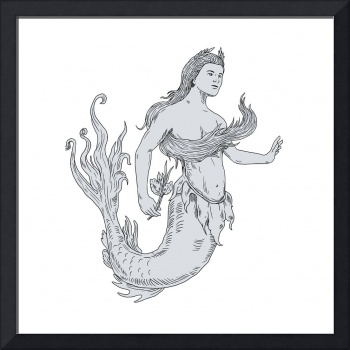Vintage Mermaid Holding Flower Drawing
