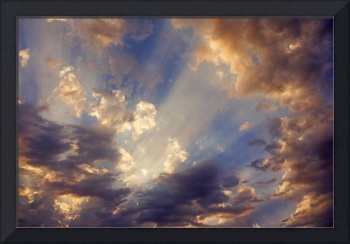 Blue Sky Art Print Sun Rays Clouds Orange
