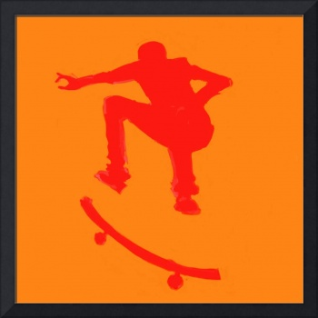 Skateboarder 2 . orange red (c)