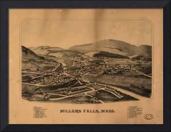 1880's Millers Falls, MA Birds Eye Panoramic Map